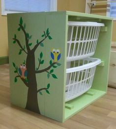 Hand Painted Owl Laundry Hamper Cabinet (Matching diaper changing station available too!).  Great for toys, shoes, clothes, or any type of storage!