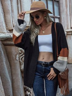 Color-block Bishop Sleeve Open Front Cardigan Seductive Women, Bishop Sleeve, Open Front Cardigan, Black Pattern, Cardigans For Women, Types Of Sleeves, Fashion News, Sweater Cardigan, Contours