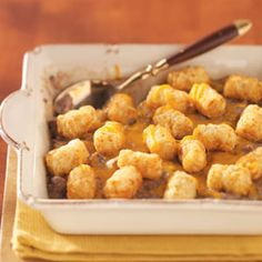 Tater-Topped Beef Casserole Recipe -Everyday ingredients like ground beef, cream of mushroom soup, melted cheese and crunchy tater tots combine to create this fun, easy and yummy casserole from Nancy Koper of Highland, New York. Cooking App, Cooking For Two, Meals For Two, Cooking Games, Beef Casserole Recipes, Crockpot Recipes, Cooking Recipes, Great Recipes, Favorite Recipes
