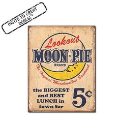 Moon Pie - Biggest Best Lunch in Town Nostalgic Retro Funny Vintage Tin Sign Metal Wall Décor Hanging Frame