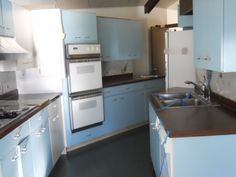 St Charles Metal Cabinets Full Kitchen Blue White in Color Vintage Sweet | eBay
