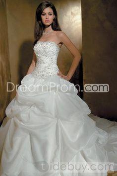 Fancy A-Line/Princess Strapless Chapel Ruched & Pick-ups  Wedding Dresses