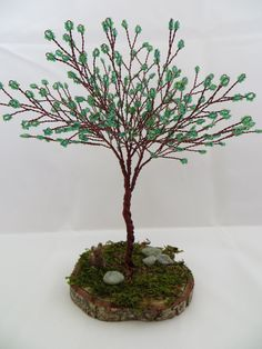 Green Tree of Life Green and Brown Tree Wedding by ArtfullyWrapped Sculpture Stand, Tree Sculpture, Beaded Flowers Patterns, Craft Projects, Craft Ideas, Wire Trees, Brown Art, Woodland Theme, Bonsai Trees