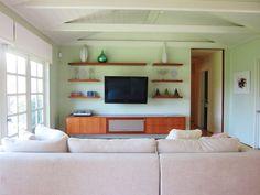 shelves around tv