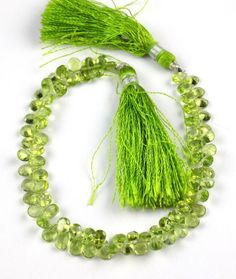 "1 Strand Natural Peridot Side Drilled Faceted Pear Shape 4x6mm Briolette 8"" Long"