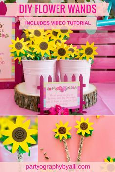WellieWishers Inspired Birthday Party from Partyography | partyographybyalli.com... #welliewishers #birthdayparty #americangirldoll #diy #partyideas #partyfavors #partystyle #decorations #pink #howtovideo #girlbirthday #flowerwands #sunflowers
