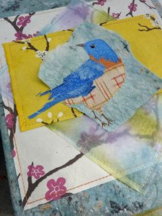 mul•tex™, paper, and fabric collaged journal cover by Vivika DeNegre