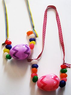 Easter Egg Necklace. Great gift for kids to make for #Easter. http://www.ivillage.com/kids-easter-crafts/6-b-336801#524817