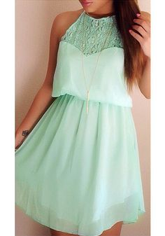 Mint Lace Chiffon Dress