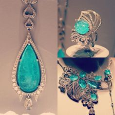 Adorned in diamonds and precious Paraiba tourmalines, this.only if I win a quadruple euro millions rollover! Royal Jewelry, Gems Jewelry, High Jewelry, Cute Jewelry, Jewelry Sets, Jewelery, Raw Stone Jewelry, Tourmaline Jewelry, Harrods