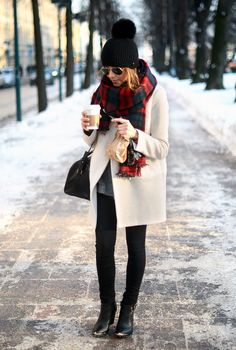white coat, grey sweater, plaid scarf, black pants, + black ankle booties