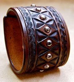 Leather cuff American Cowboy King Handcrafted in by mataradesign, $250.00