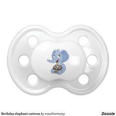 Birthday elephant cartoon BooginHead pacifier
