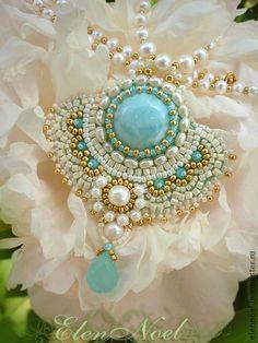 Perla colgante con Larimar - azul, larimar, perlas, perlas de agua dulce naturales