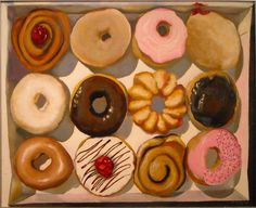 donuts Wayne Thiebaud food still life Juan Sanchez Cotan, Pop Art Party, Art Doodle, Food Painting, Paintings Of Food, Painting Art, Richard Diebenkorn, Arte Pop, Gcse Art