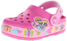 Crocs CrocsLights Butterfly Clog PS, Mädchen Clogs, Pink (Neon Magenta/Carnation 6L4), 24/25 EU - http://on-line-kaufen.de/crocs/24-25-eu-crocs-crocslights-butterfly-clog-ps-clogs