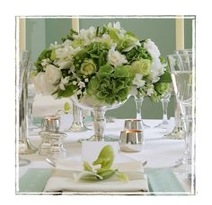 Green white and silver Christmas flowers
