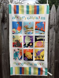 Patchwork Pals Baby Quilt Fabric Panel Colorful Block Alphabet Animals Nursery Decor Material Destash Sewing Supplies New by MoomettesCrochet on Etsy https://www.etsy.com/listing/259255566/patchwork-pals-baby-quilt-fabric-panel