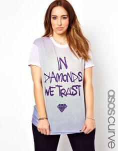 ASOS Curve | ASOS CURVE T-Shirt With In Diamonds We Trust Print at ASOS