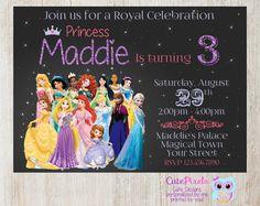 Disney Princess Invitation, Princess Birthday Invitation, Disney Princess Party, Princess Invitation, Disney Princess