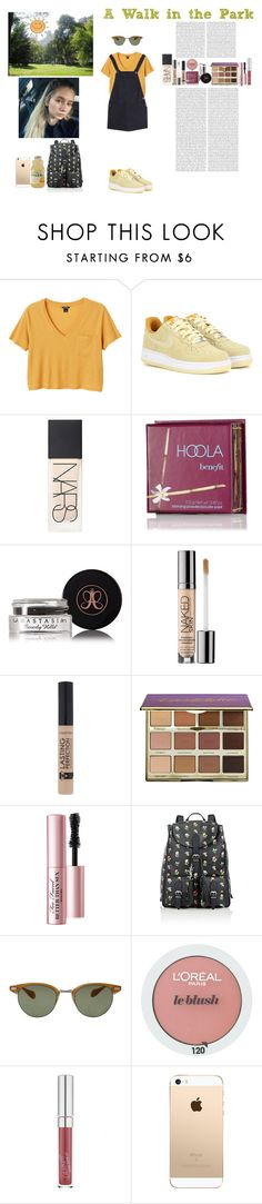 """A Walk in the Park"" by silly-stegosaurus ❤ liked on Polyvore featuring Monki, NIKE, NARS Cosmetics, Benefit, Anastasia Beverly Hills, Urban Decay, tarte, Too Faced Cosmetics, Yves Saint Laurent and Oliver Peoples"