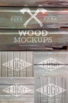 5 Free Weathered Wood Logo Mockup Textures (107 MB)  | Curated by @4vector