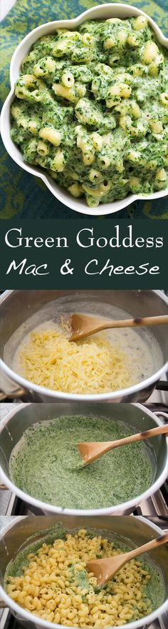 Green Goddess Mac and Cheese ~ Get your power greens in this macaroni cheese! With loads of baby spinach, parsley, garlic, white sharp cheddar, Parmesan, and macaroni pasta.