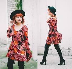 Get this look: http://lb.nu/look/8634311  More looks by Kendall Kay: http://lb.nu/kendallkay  Items in this look:  It's Kendall Kay  Style Blog, Star Studded Choker, Black Thigh High Boots, Velvet Floral Dress, Black Hat   #bohemian #romantic #vintage #charity #jewelry #fauxsuede #velvet #floral