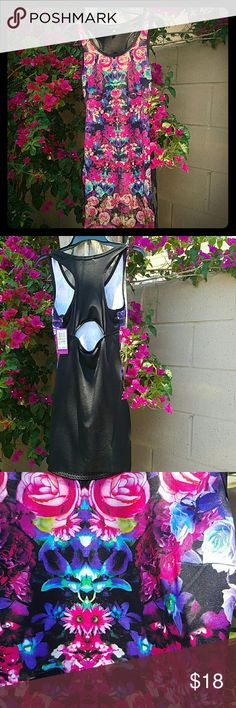 """Flowered dress 92% polyester & 8% spandex. All black dress in back with a sexy opening . Front is flowered pattern..pink, purple,& blue are the strongest colors . Comes right above the knee if your a shorter person like me """") 5""""2. Nice form fitting. Hence the spandex. Bar/ or just out to hang out dress. Rampage Dresses Mini"""