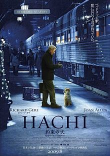 "Hachi: A Dog's Tale is a 2009 drama film. Based on the true story of a faithful Akita Inu, the titular Hachikō, it is directed by Lasse Hallström, written by Stephen P. Lindsey and stars Richard Gere, Joan Allen, and Sarah Roemer. The subject is a remake of the 1987 Japanese language film, Hachikō Monogatari (ハチ公物語?) literally ""The Tale of Hachiko"""
