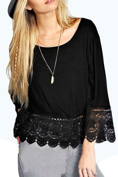 Black Crochet Lace Trim Swing Top