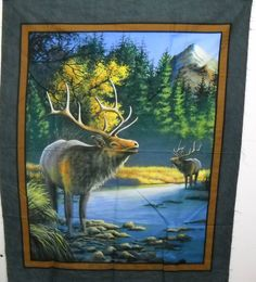 Wild Wings Mountain Sky Elk Wildlife Wall Hanging Panel 100% Cotton Fabric Panel FREE SHIPPING by SeaPillowTreasures on Etsy
