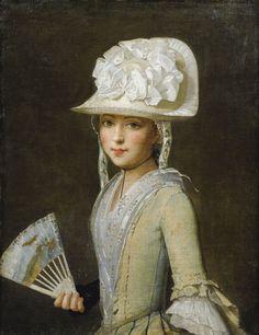 Portrait of a young woman with a fan, 18th century, Ecole Provençale