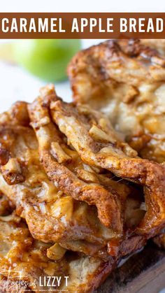 Gooey apples, cinnamon and caramel in every bite! This easy Caramel Apple Pull Apart Bread uses a quick biscuit dough for a tender flaky loaf.