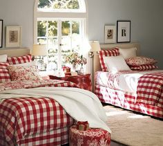 red and white buffalo check bedding pottery barn