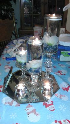 dollartree centerpieces :  wedding blue diy ivory navy reception white Centerpiece12kbjhv