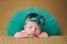 Tutu Blue Dress Headband Set Handmade Outfit (0 to 12 months)