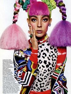 Chloe Norgaard with crazy color braided hair in a dope Jeremy Scott jumper in Miss Vogue Fashion Art, Foto Fashion, Fashion Designer, Fashion Week, Editorial Fashion, Vogue Editorial, Magazine Editorial, Vogue Fashion, Fashion Models