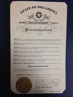Oklahoma Governor Mary Fallin's proclamation recognizing Diaper Need Awareness Week (Sept. 28 - Oct. 4, 2015) #DiaperNeed www.diaperneed.org