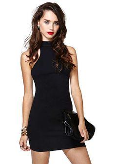 Super Super Cute! Love the back! Black  Band Collar Sleeveless  Lycra Bodycon LBD Dress