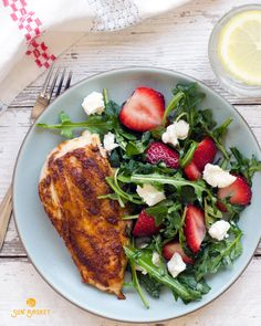 Want the recipe and ingredients for this gluten-free Roasted Chicken with Wild Arugula, Goat Cheese and Strawberries delivered right to your door? Click here to check out Sun Basket! Organic ingredients from the best West Coast farms and easy, healthy recipes from a top San Francisco chef, with Paleo, Gluten-Free and Vegetarian meal plans available