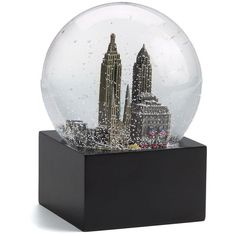 Signature Saks New York City Snow Globe ($46) ❤ liked on Polyvore featuring home, home decor, holiday decorations, decor, snow globe, stuff, city, apparel & accessories, no color and music snow globe