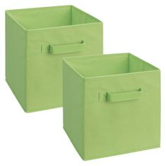 ClosetMaid Cubeicals Fabric Drawers - 2 Pack -- This would be good for the Cubes in Toy Room. I would recommend using them for some of the cubes and leaving others open for toys that don't need to be in a bin.