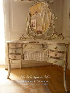 Shabby Vanity - Parisian Fashion - Furniture for dollhouse 1:12th scale