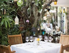 Michele Grendene turned to famed architect Michele Bonan to create an intimate getaway in the heart of South Beach. Miami Restaurants, Vacation Wishes, South Beach Miami, Grad Parties, Landscape Design, Lanterns, Backyard, Entertaining, Table Decorations