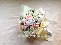 Wedding bouquet spring time,budget,pink,ivory, bouqet toss, foam flowers, pearls, bridal, Easter , shabby chic, traditional on Etsy, £49.90