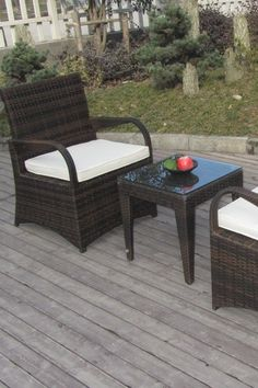 Outdoor Arm Chairs & Table Set.