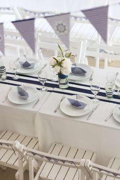 Nautical Baptism Party Table!  See more party planning ideas at CatchMyParty.com!