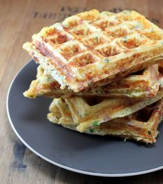 Making these tomorrow for breakfast? Bacon, cheddar, and chive waffles!