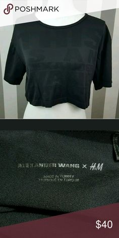 "Alexander Wang x H&M Crop top Size Small Excellent condition ""This is my Alexander Wang Shirt""  Size Small  Black Alexander Wang x H&M  Tops Crop Tops"